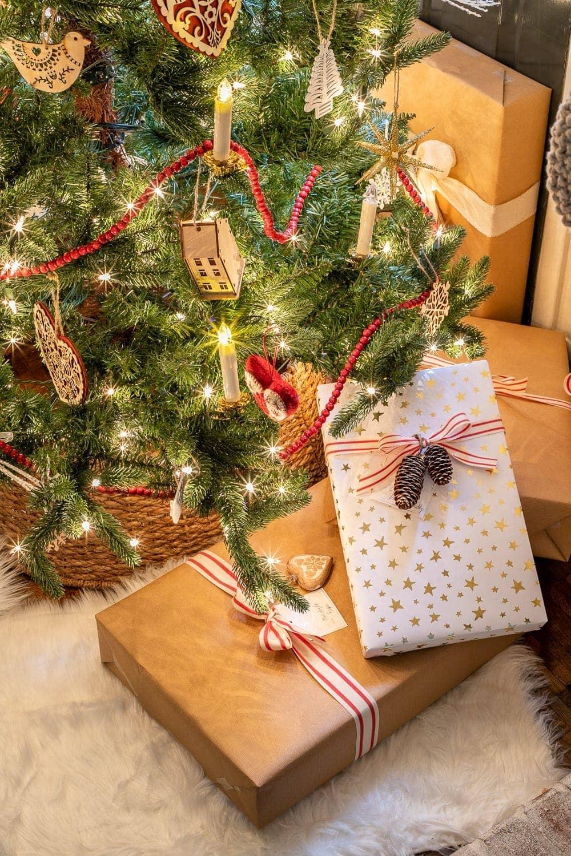 Christmas presents and tree at night