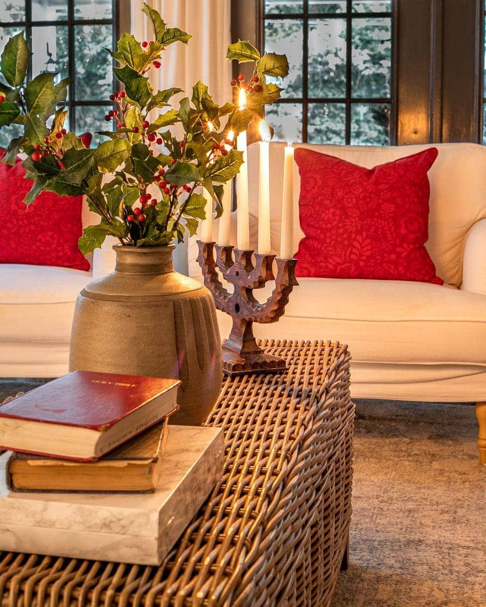 Christmas candlelight coffee table vignette living room