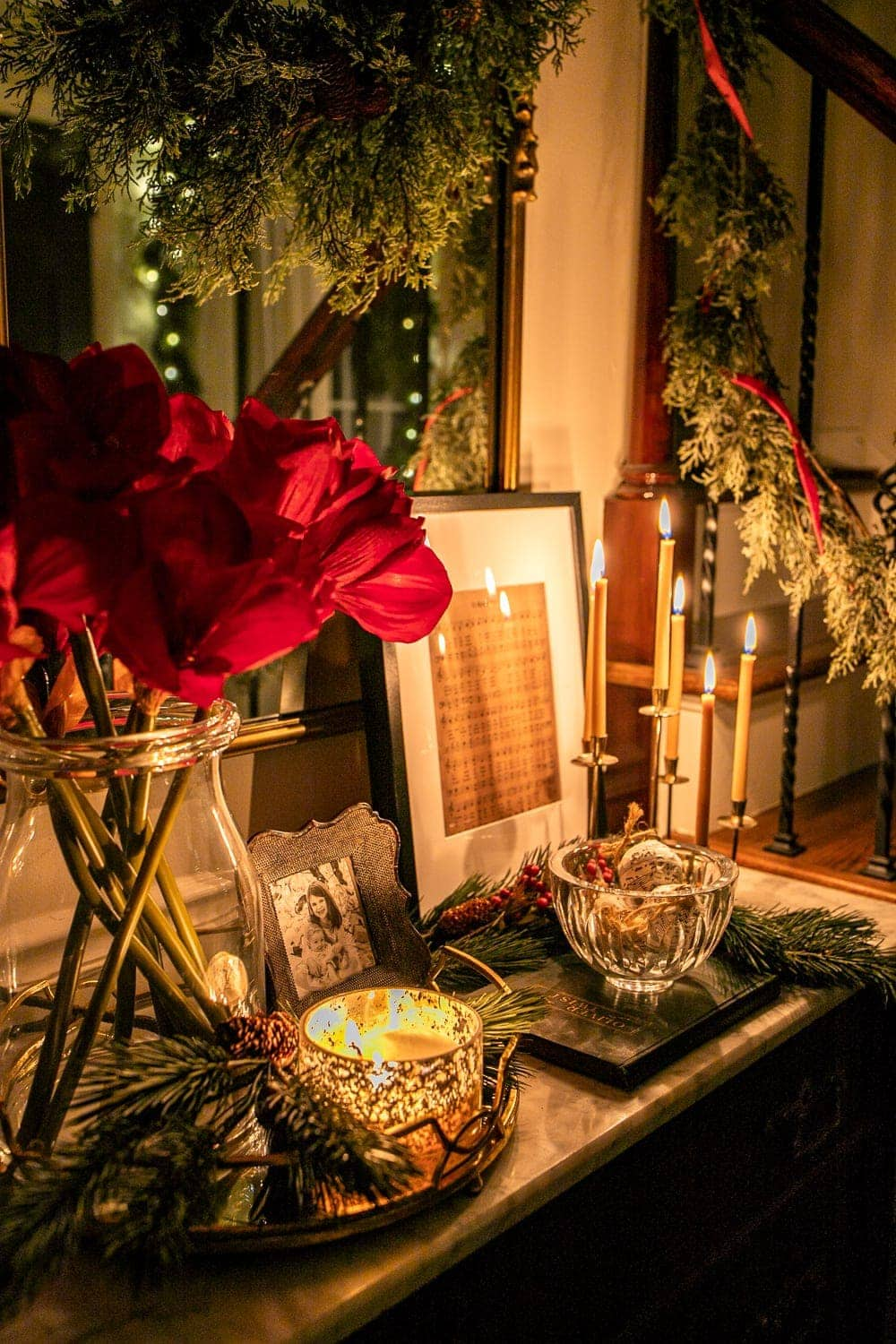 Christmas night vignette with candlelight