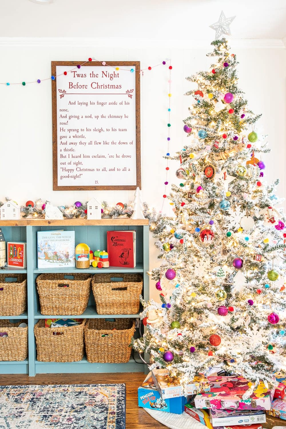 Colorful Christmas playroom | Christmas Decorating Tricks | How to hang wreaths and garlands without damaging walls or furniture