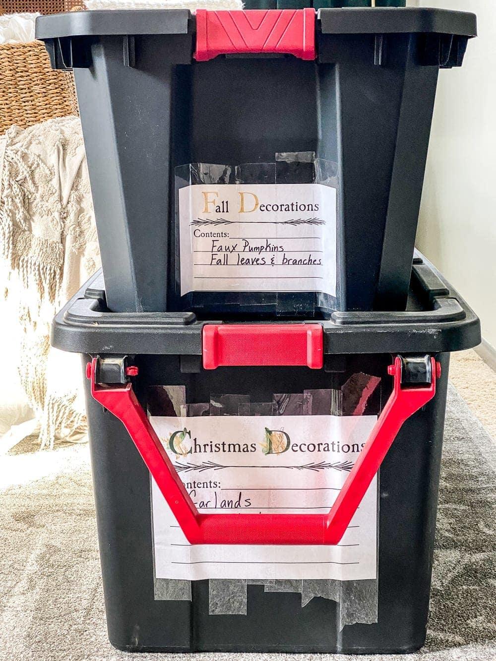 attic storage seasonal storage bin labels