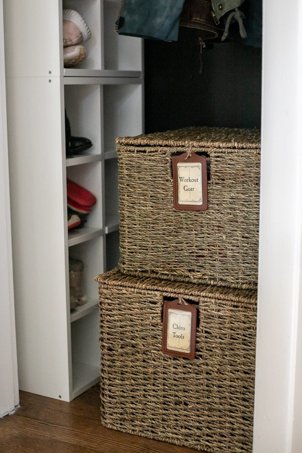 coat closet organization baskets and labels