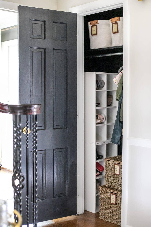 coat closet organization with shoe storage