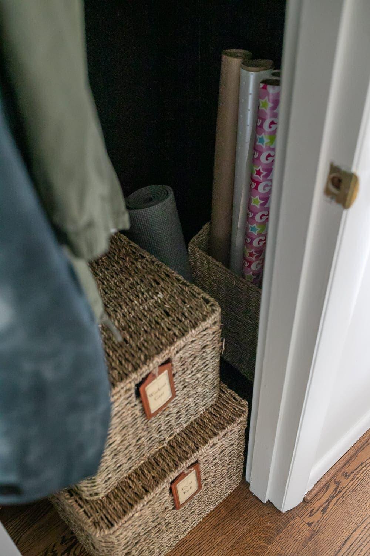 coat closet organization with gift wrap storage