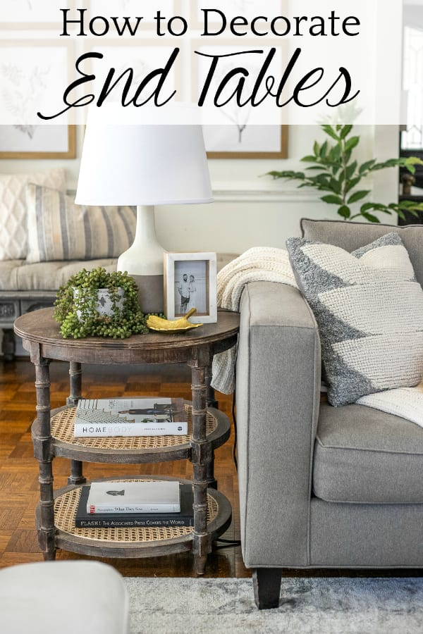 how to decorate end tables in a living room