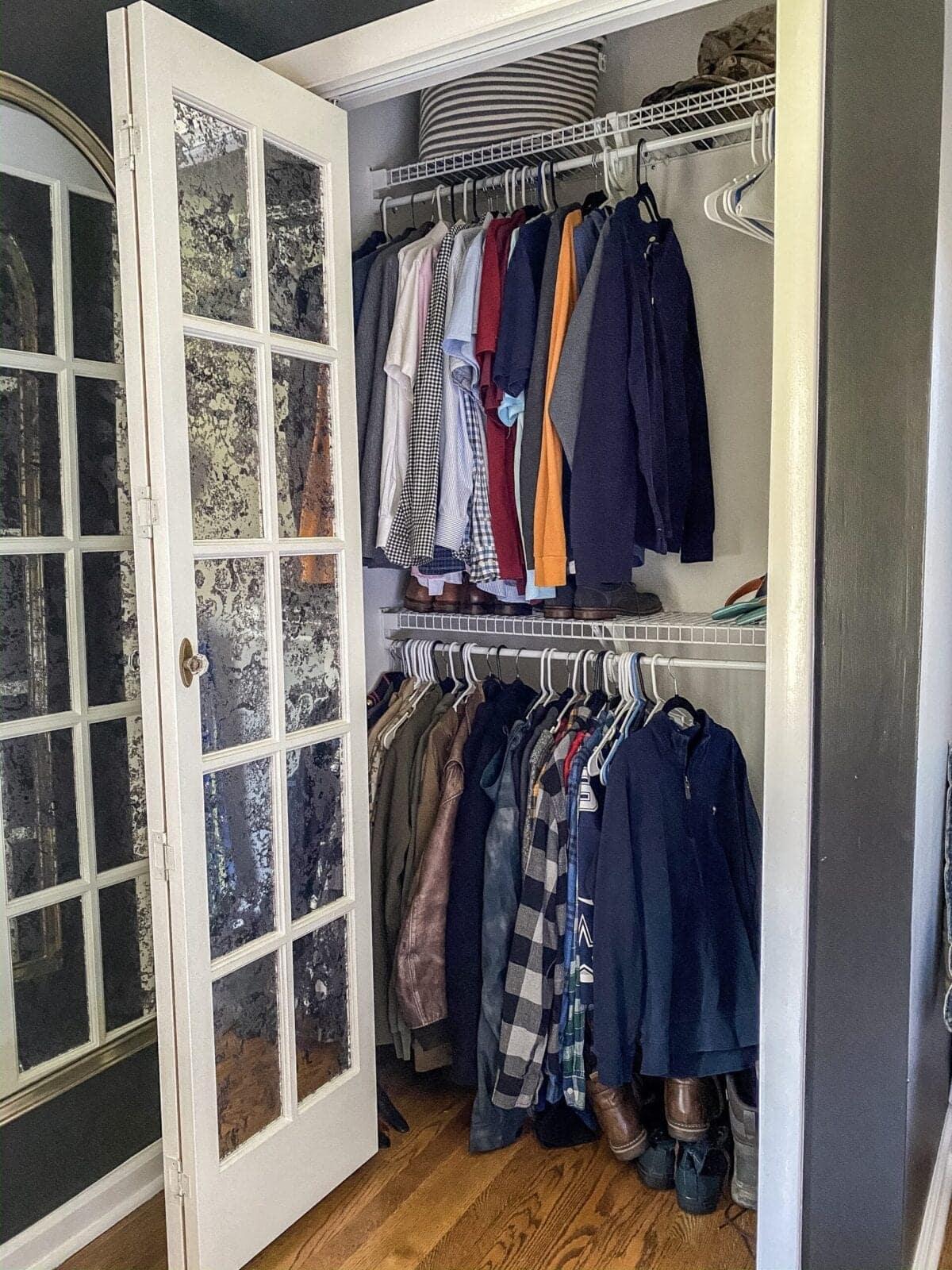 Small Master IKEA Closet Using Billy Bookcases