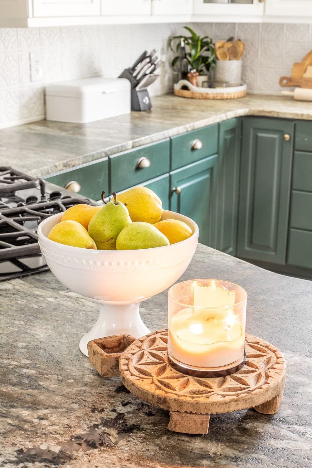 candle and fruit bowl for kitchen counter decor