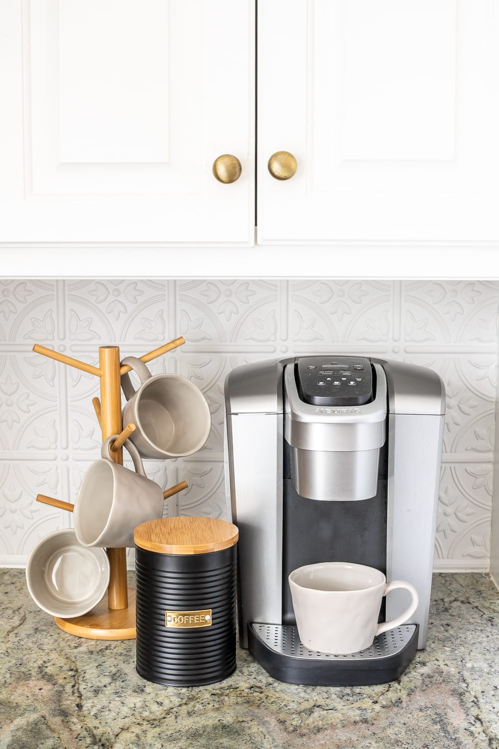 coffee station on a kitchen countertop