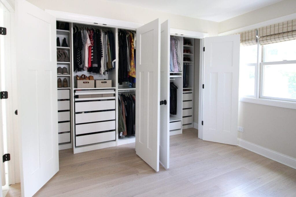 his and hers IKEA PAX Closets