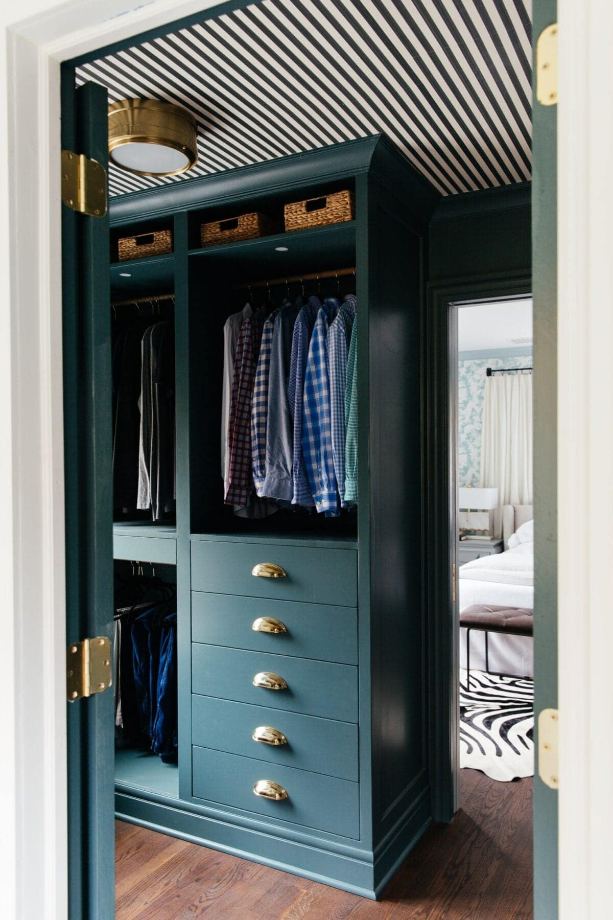blue green IKEA PAX Closet with striped ceiling