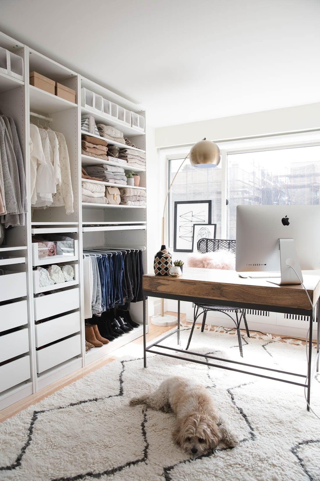 neutral IKEA PAX Closet with shag rug and office desk