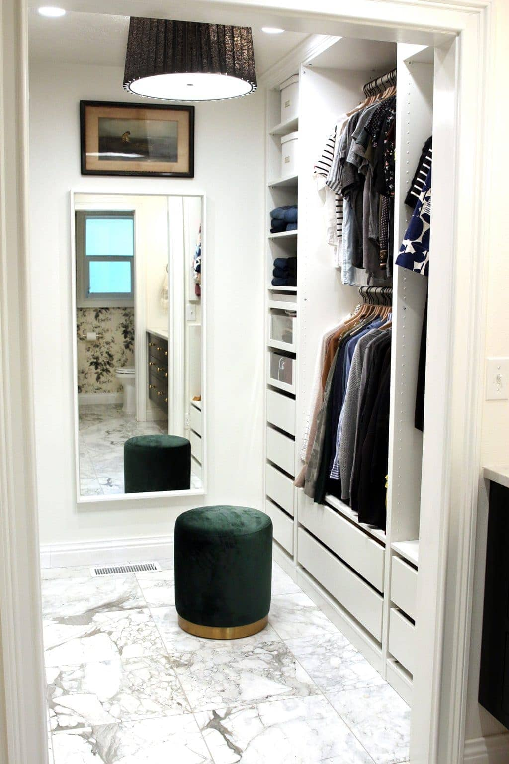 IKEA PAX Closet with full length mirror and dressing stool