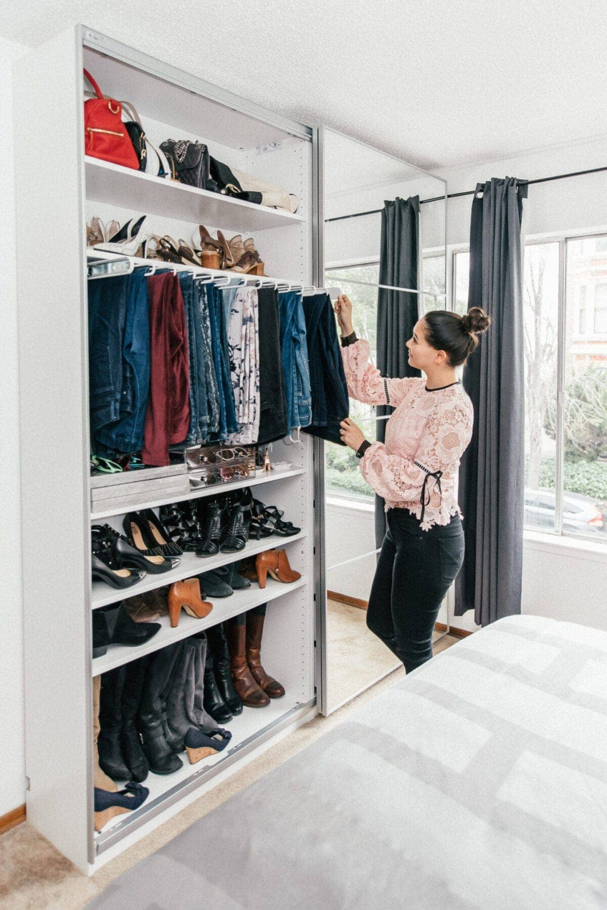 IKEA PAX Closet with pull out pants bar and shoe storage