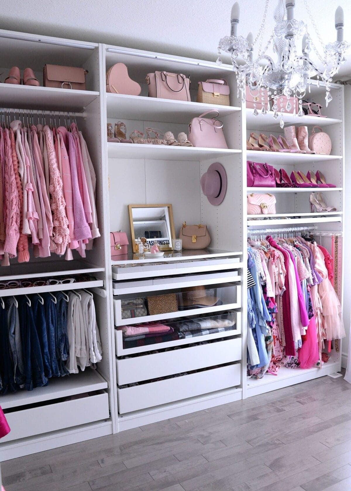 IKEA PAX Closet with pink accessories niche