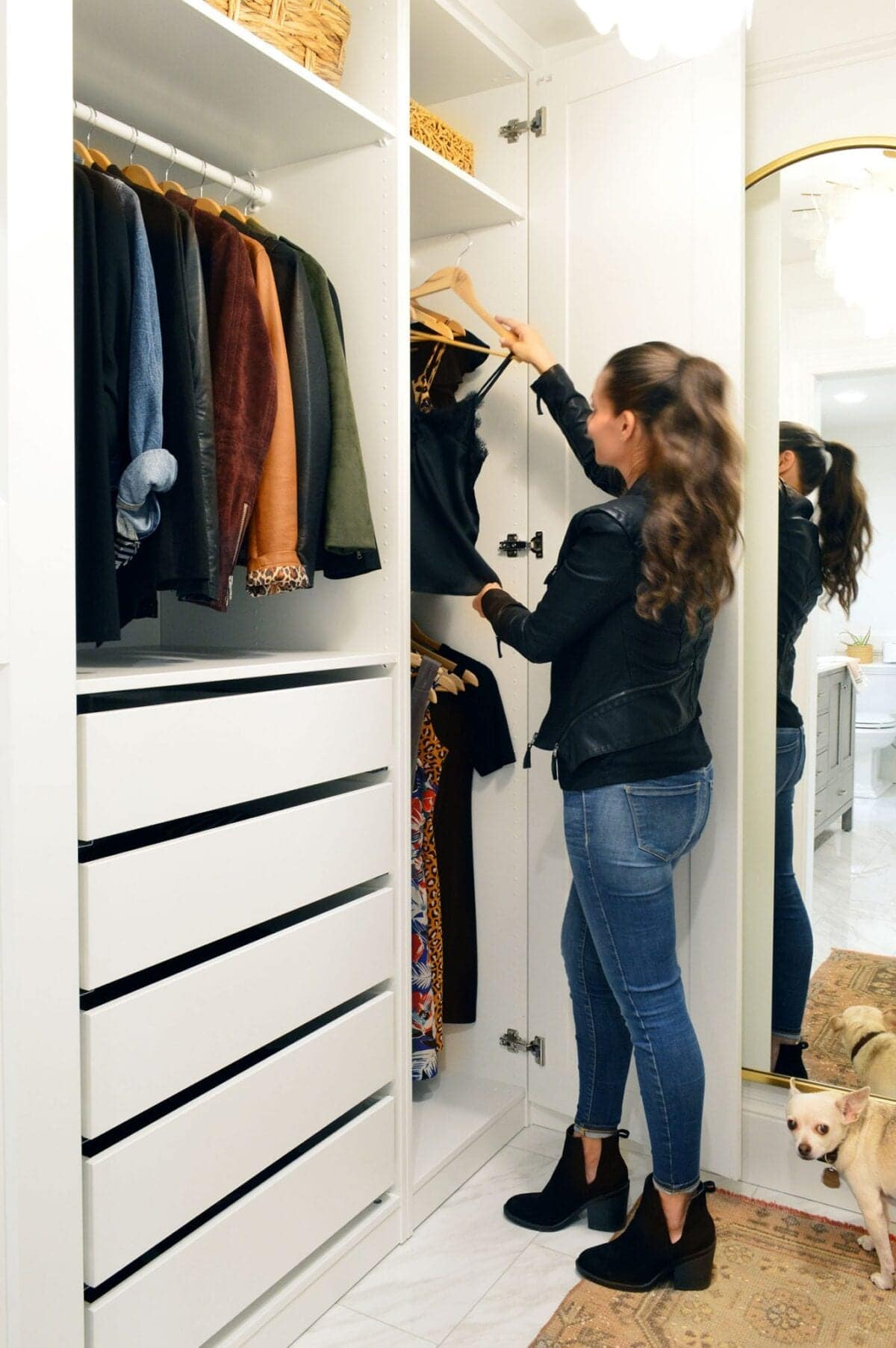 IKEA PAX Closet with drawers and floor length mirror