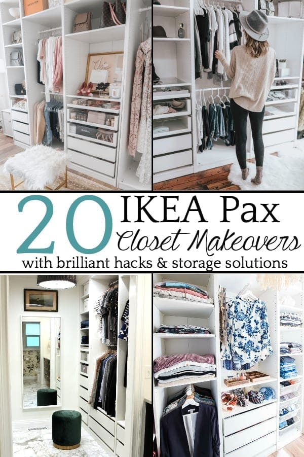 20 Inspiring IKEA Pax Closet Makeovers   A round-up of the best closet makeovers using the IKEA Pax system with hacks to make it look custom and solutions for creating the most functional closet.