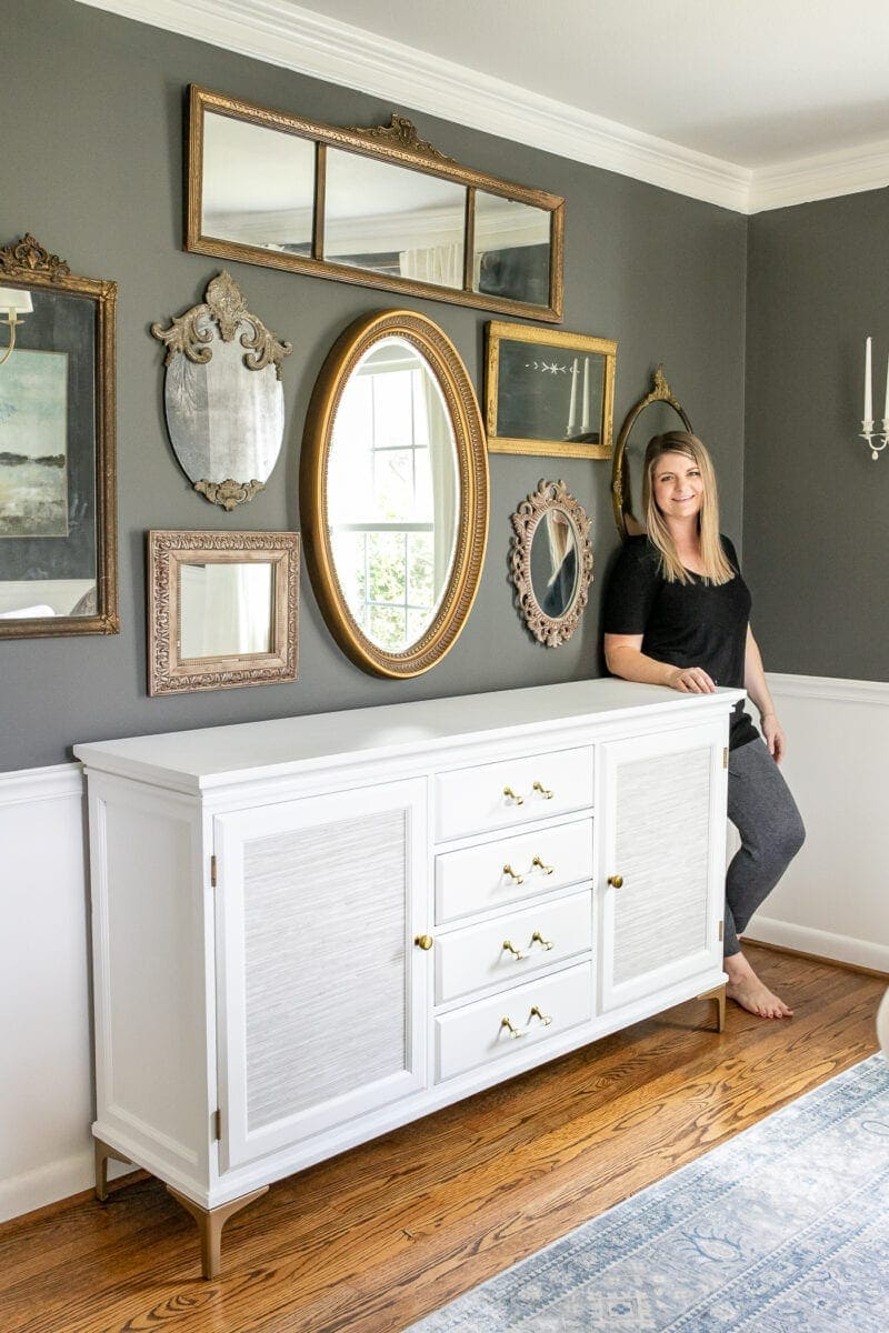 Footed Grasscloth Buffet Makeover
