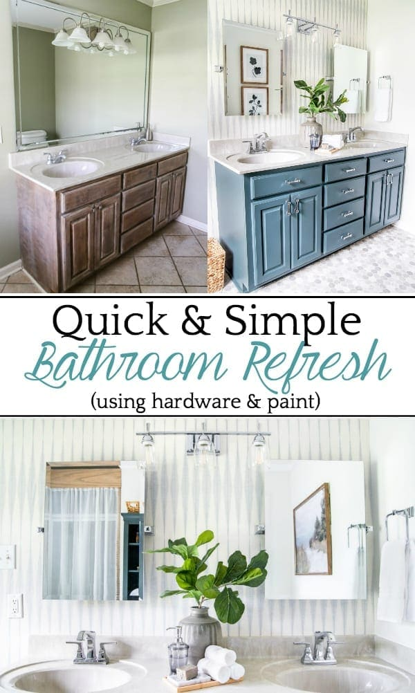 #AD | A dated bathroom gets a quick refresh with paint, wallpaper, and @betterhomesandgardens hardware from @walmart for a bright, modern look on a budget.