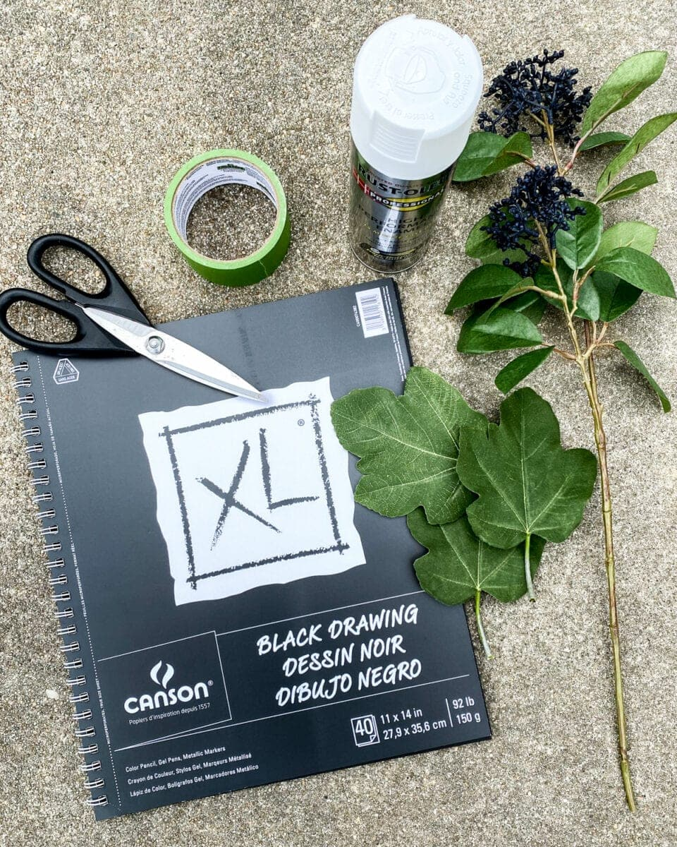 DIY Leaf Silhouette Art | How to create high-end looking DIY art using spray paint and leaves from your yard for a modern boho style designer knock-off.