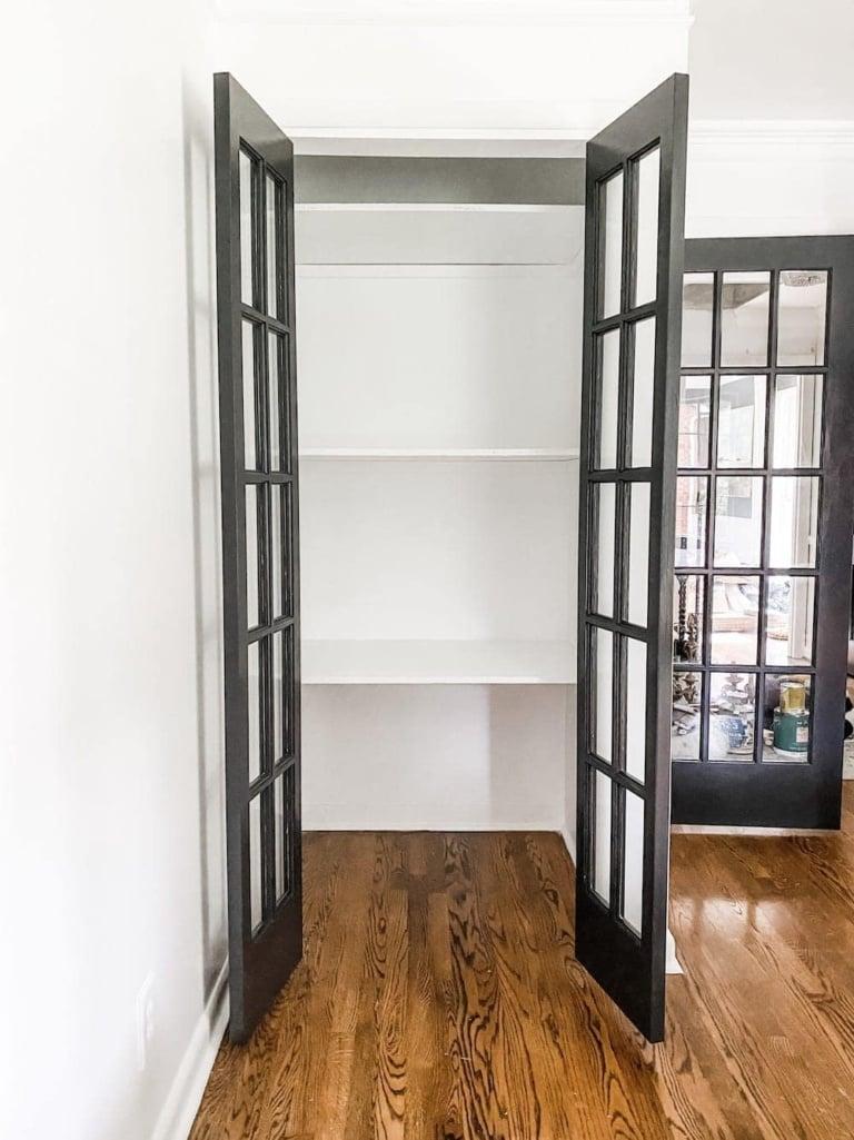 Easy DIY Closet Shelves & Bifolds to French Doors
