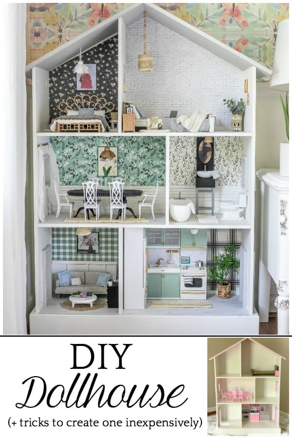 Thrifted Dollhouse Makeover   Tips and tricks for using what you already have and repurposing every day items from around the house to create a beautiful, real-looking dollhouse.