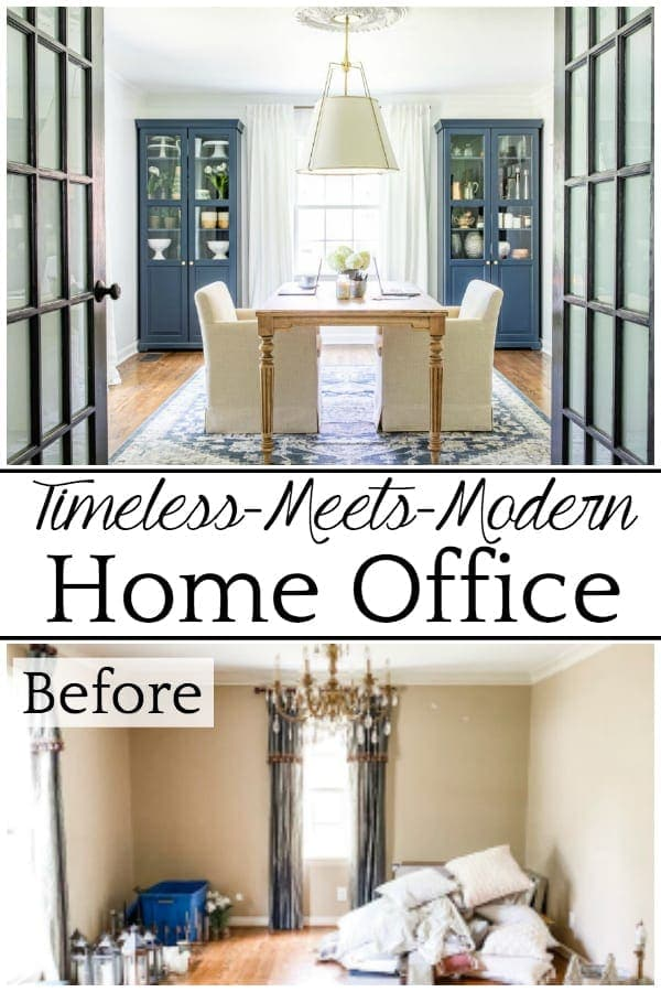Timeless Meets Modern Home Office   An outdated dining room gets converted to a light and bright home office with a timeless new look and functional storage.