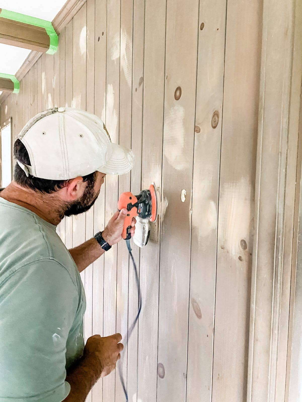 sanding wood paneling