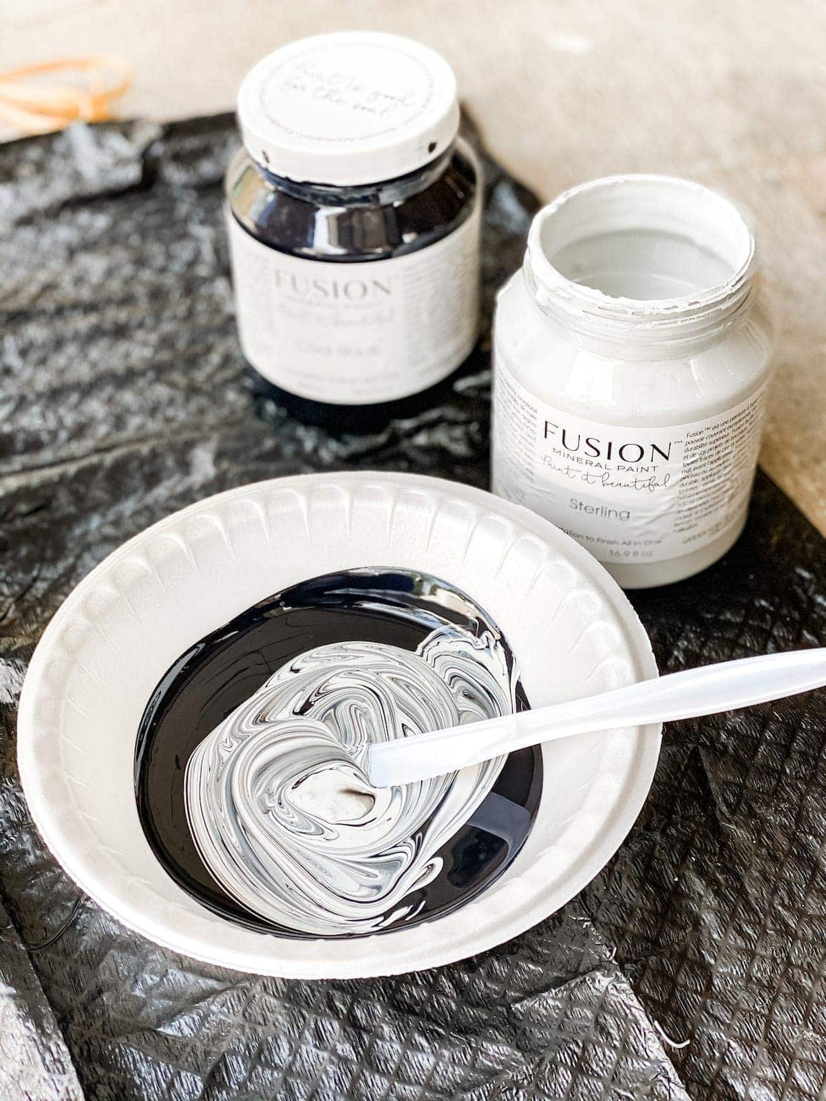 black and white acrylic Fusion Mineral Paint to make medium gray paint