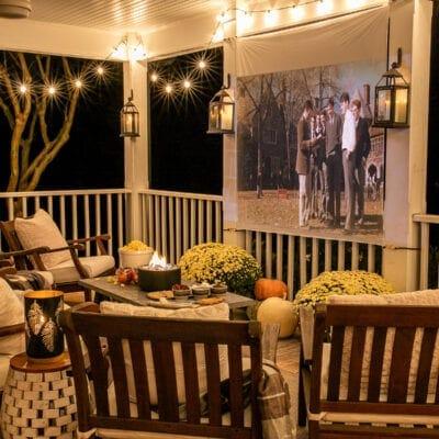 Fall Porch DIY Outdoor Movie Screen and DIY S'mores Table