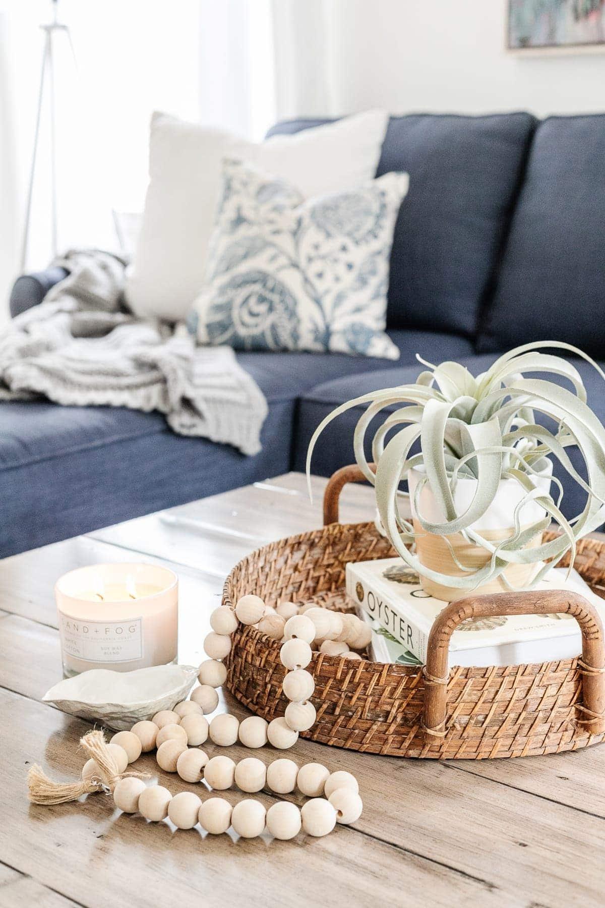 coastal style coffee table decor