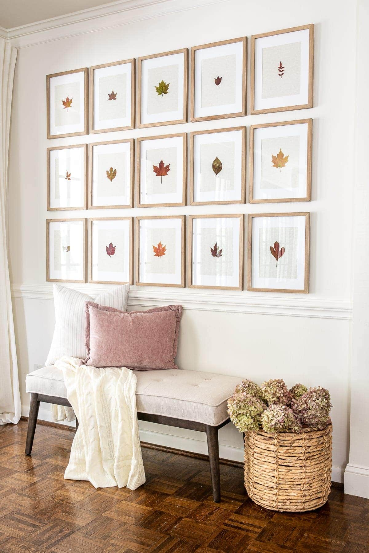 fall entryway using gallery wall with pressed leaves and dried hydrangeas in a basket beside a bench