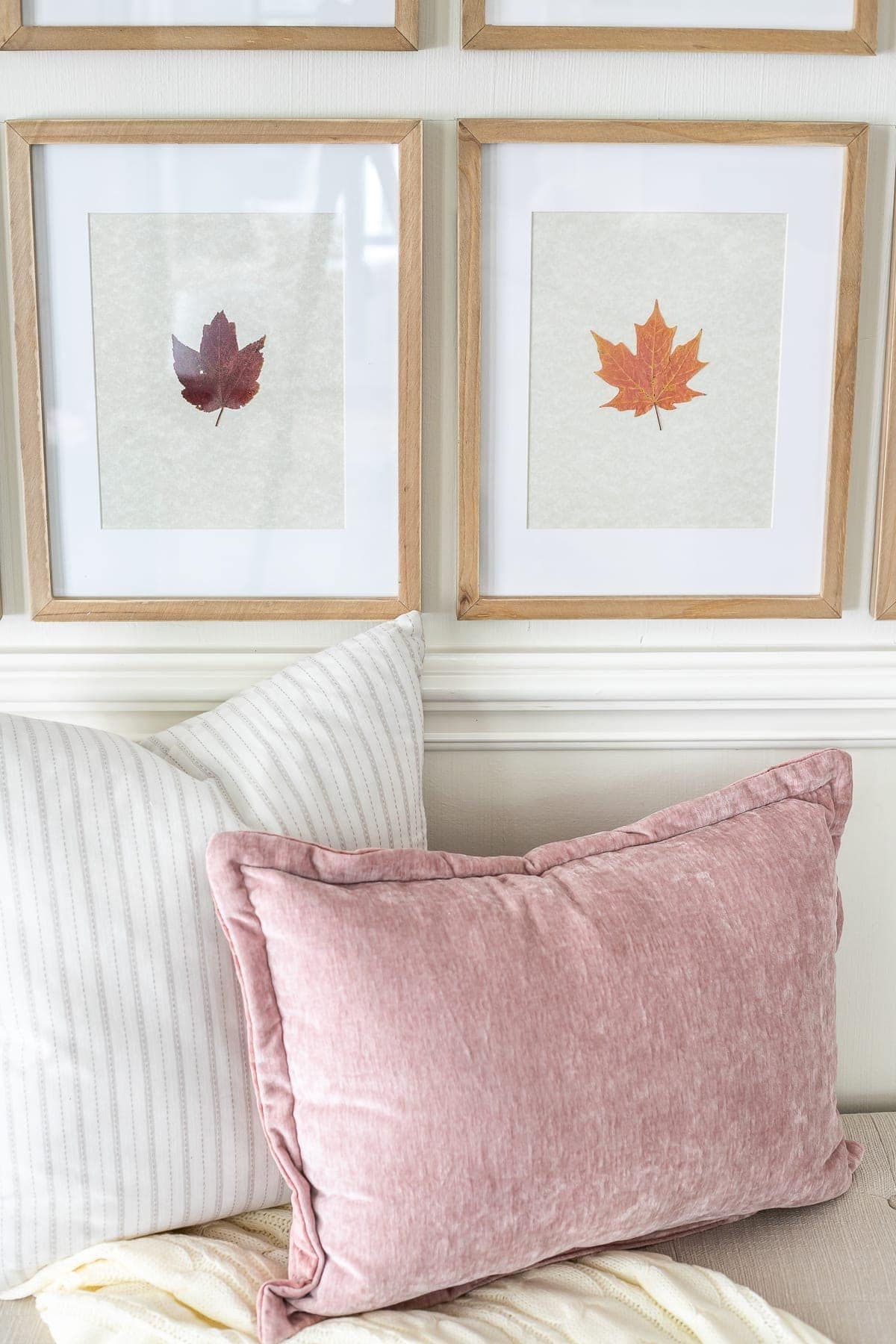 pressed fall leaves framed and neutral and blush throw pillows