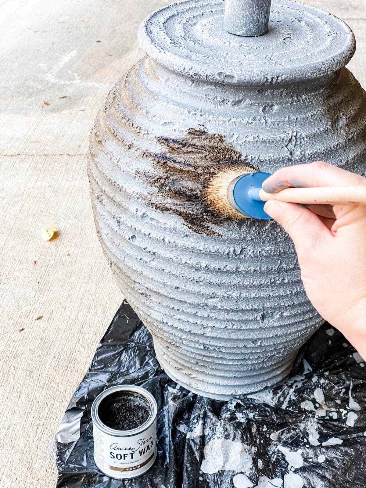 dark wax finish on gray painted lamp
