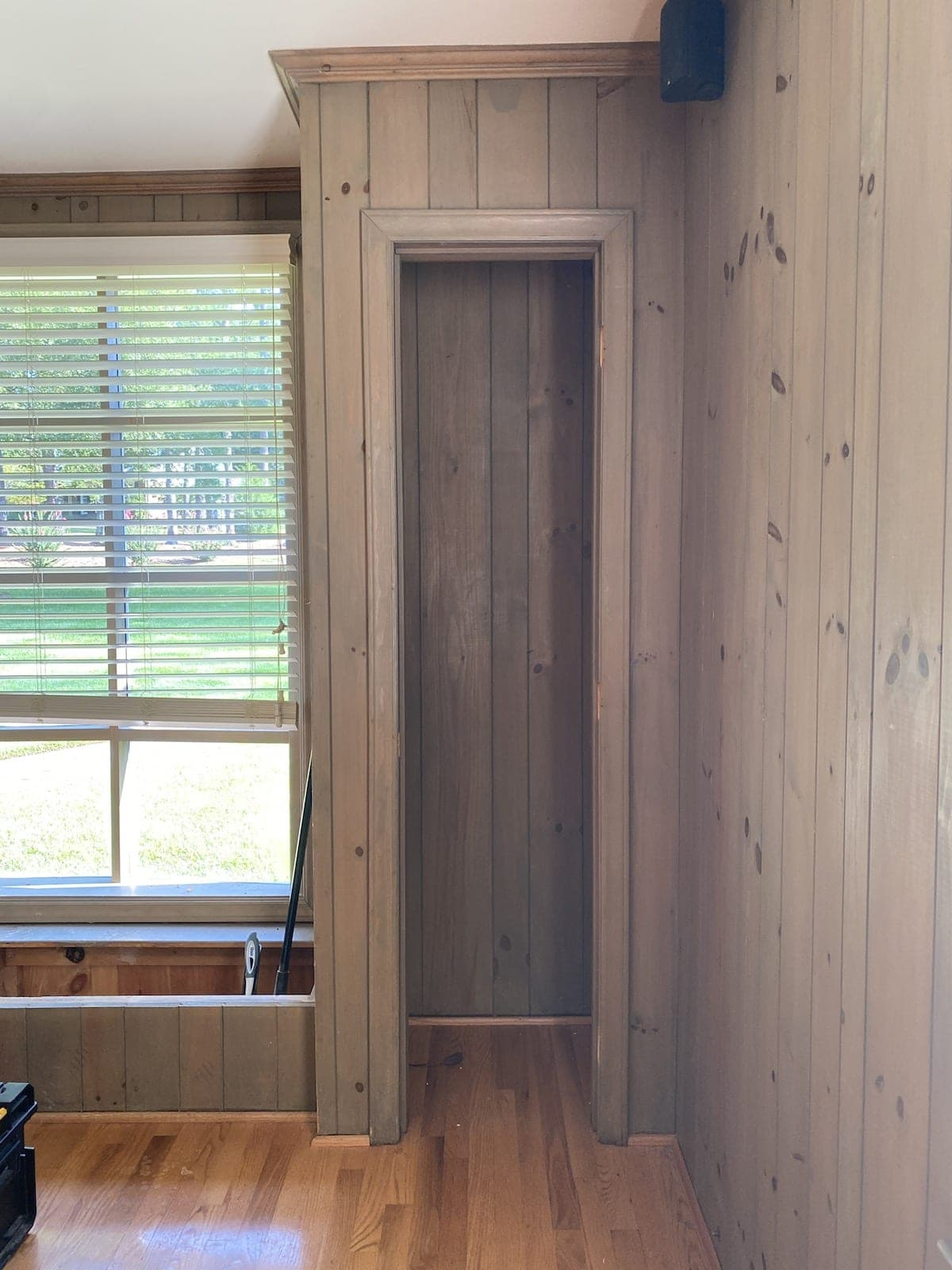 closets with wood paneling