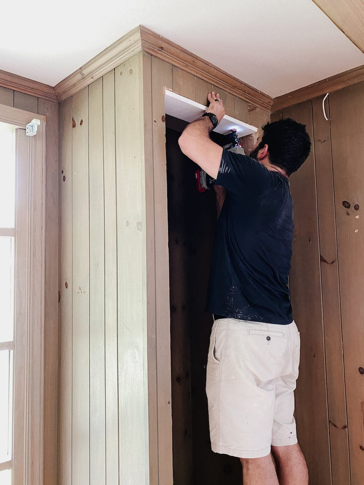 adding a frame to closet opening to make built-in shelves