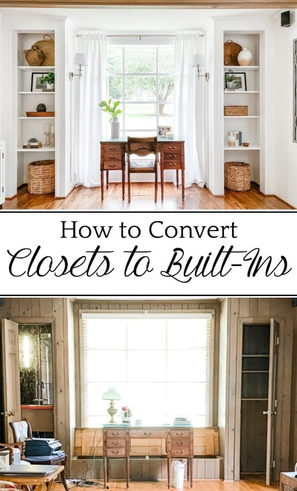 How to Convert Closets to Built-In Shelves: A step-by-step tutorial for converting closets into built-in shelves & a living room office transformation.