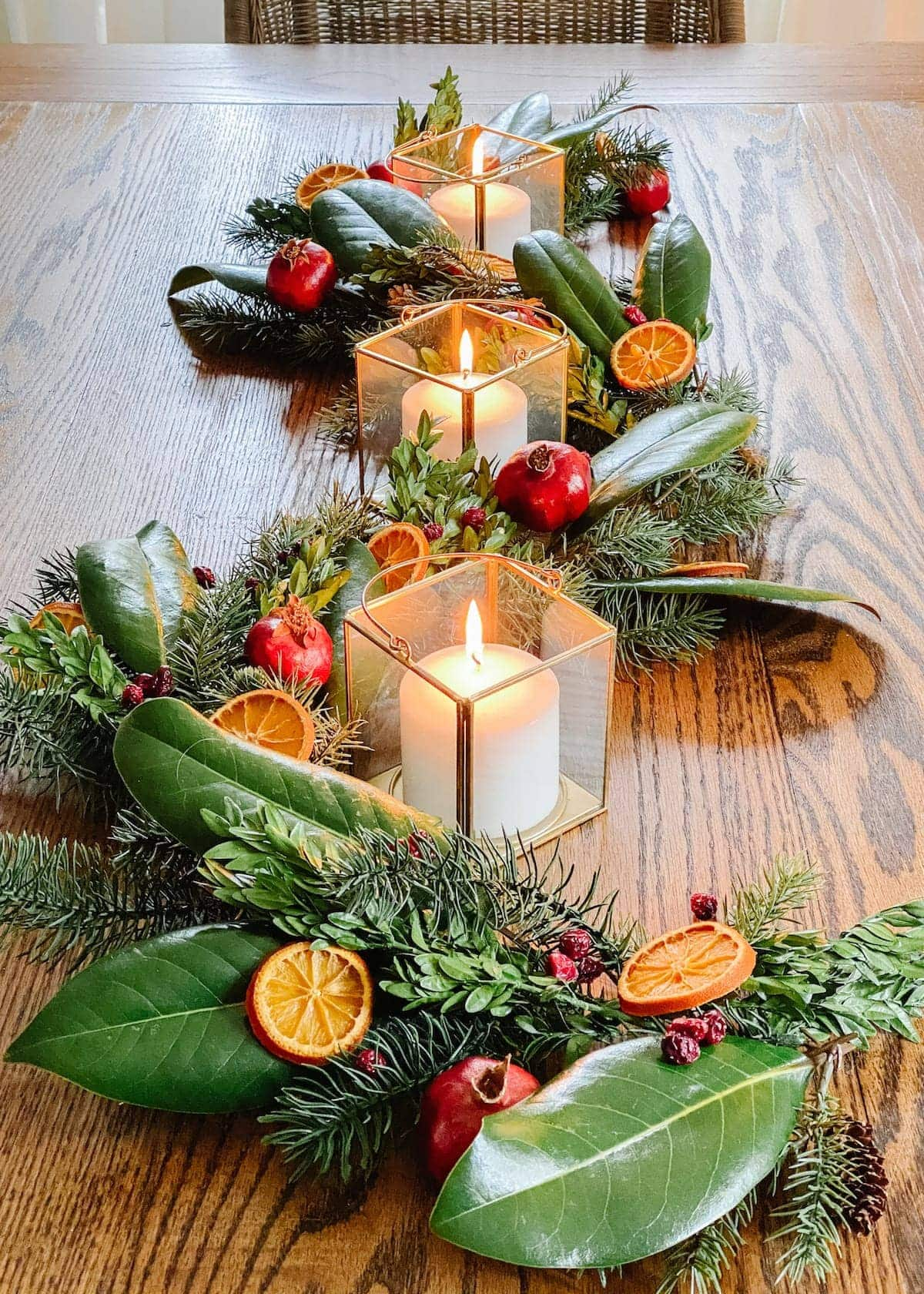 DIY dried fruit and preserved leaves Christmas garland