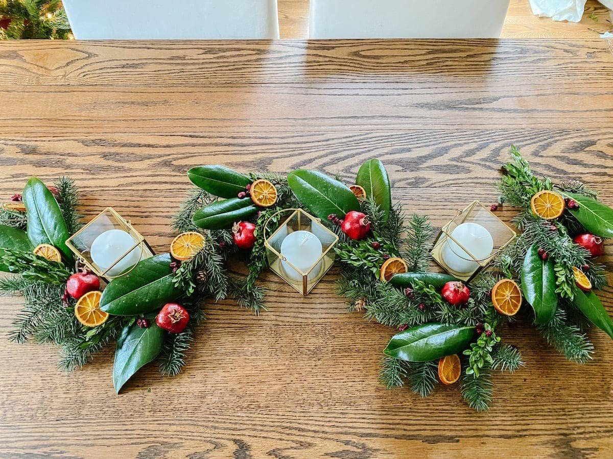 Cheap Christmas garland made to look high-end with dried fruit and preserved leaves