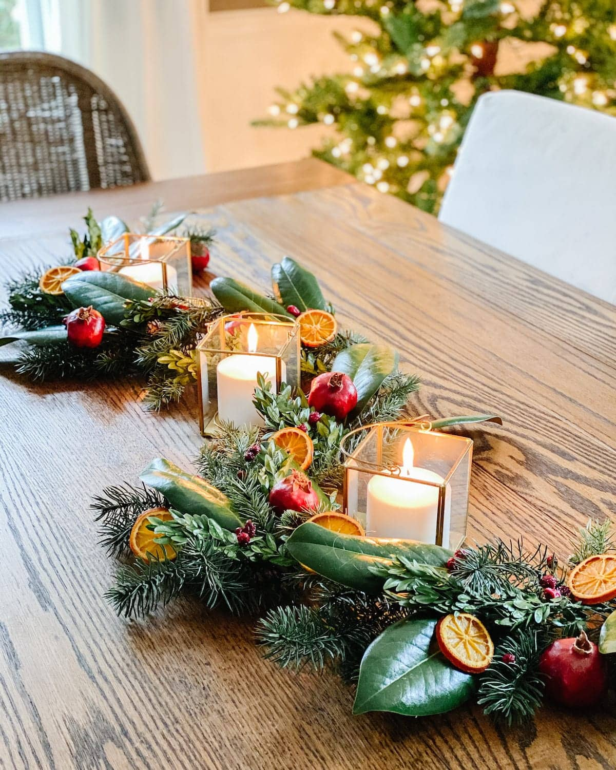DIY dried fruit and preserved leaf Christmas garland