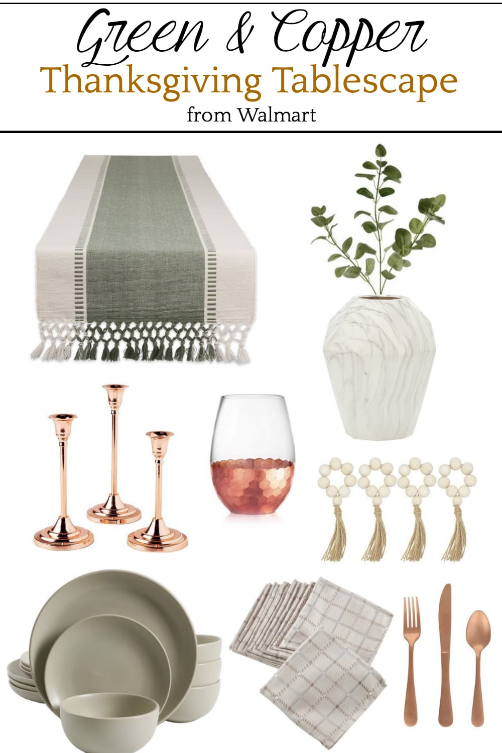 Green and Copper Thanksgiving Tablescape Mood Board