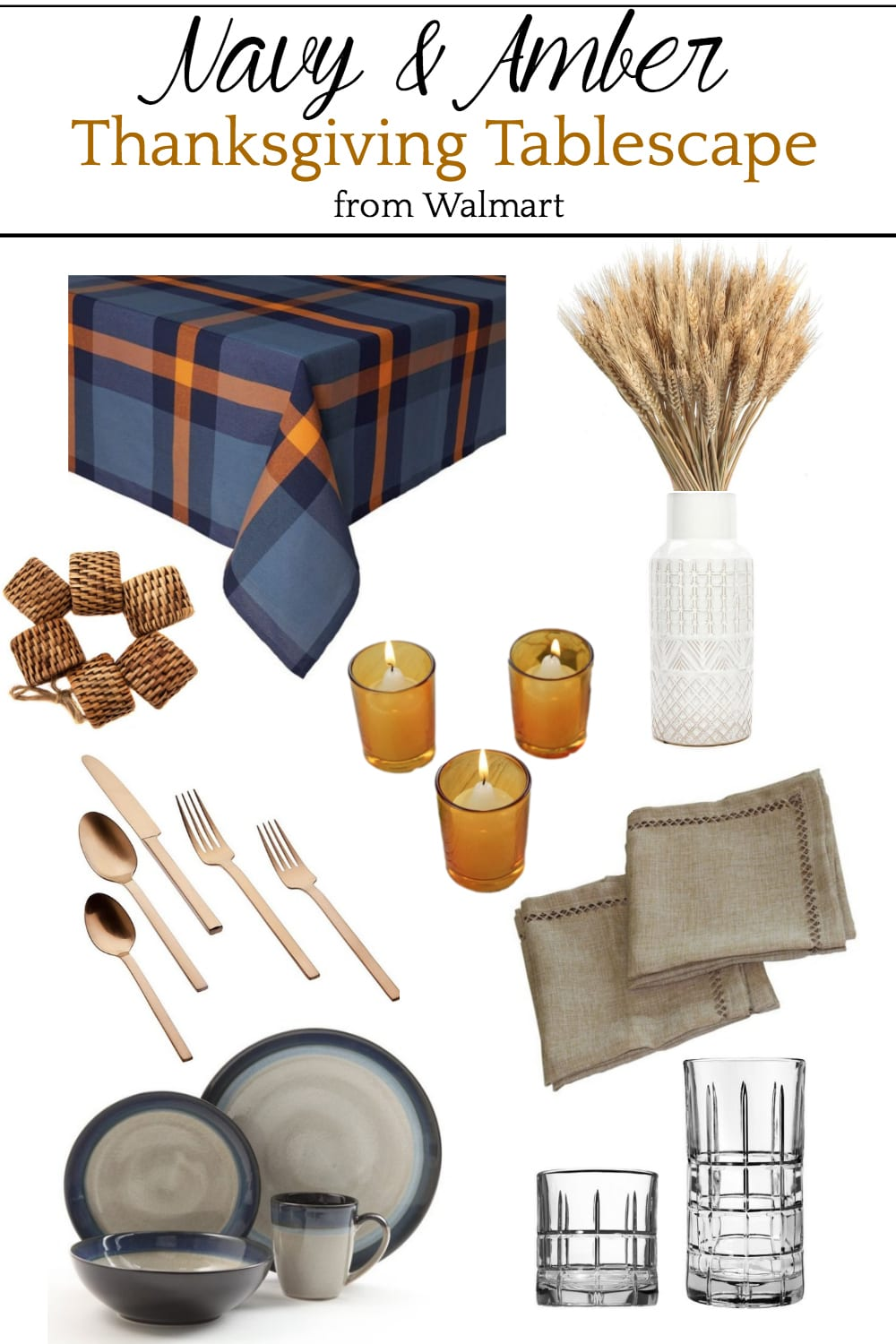 Navy and Amber Thanksgiving Tablescape Mood Board
