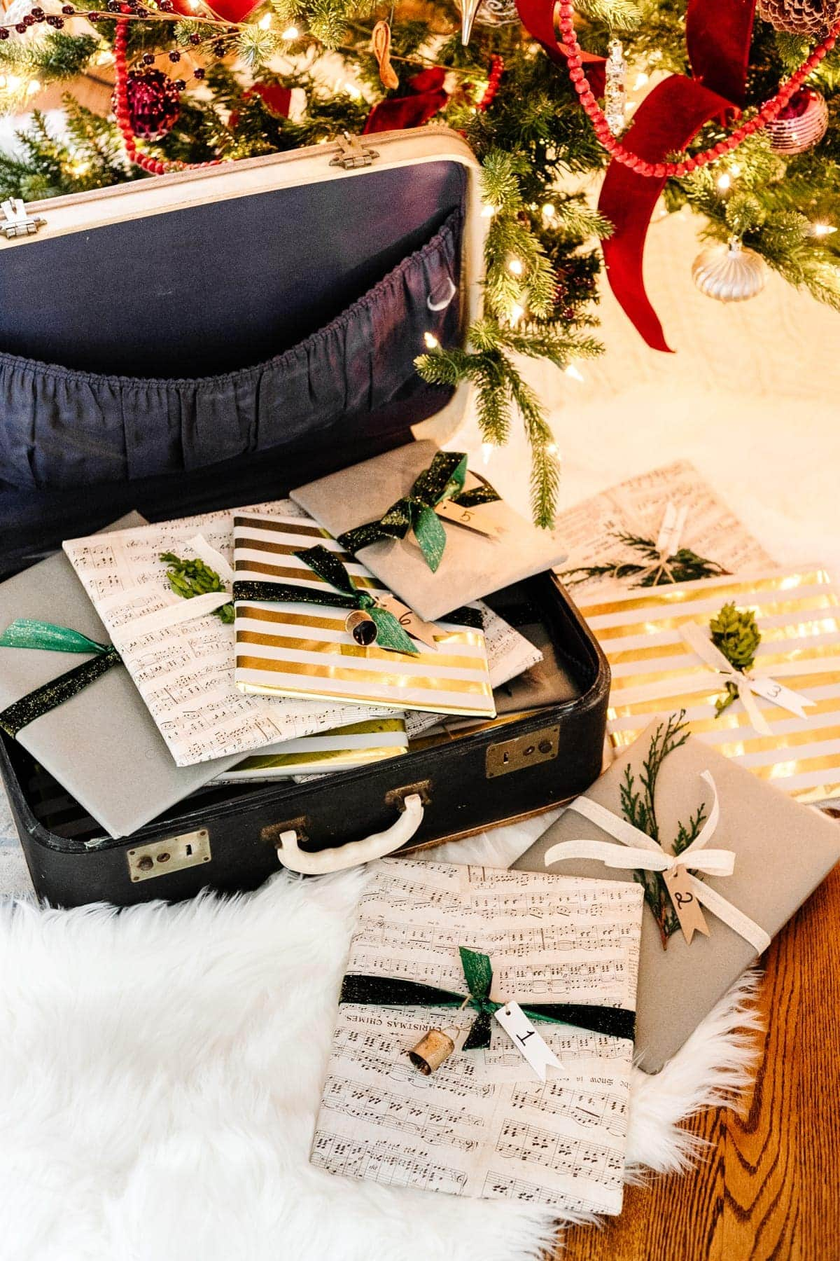 secondhand suitcase used as a storybook Christmas advent calendar