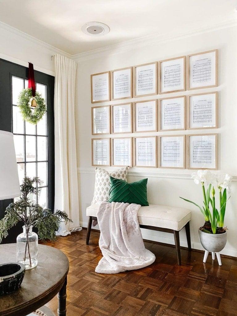 Christmas Wall Decor: Sheet Music Art Gallery Wall