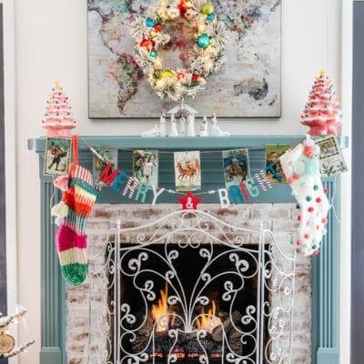 Christmas Playroom & Vintage Holiday Postcard Printable Garland