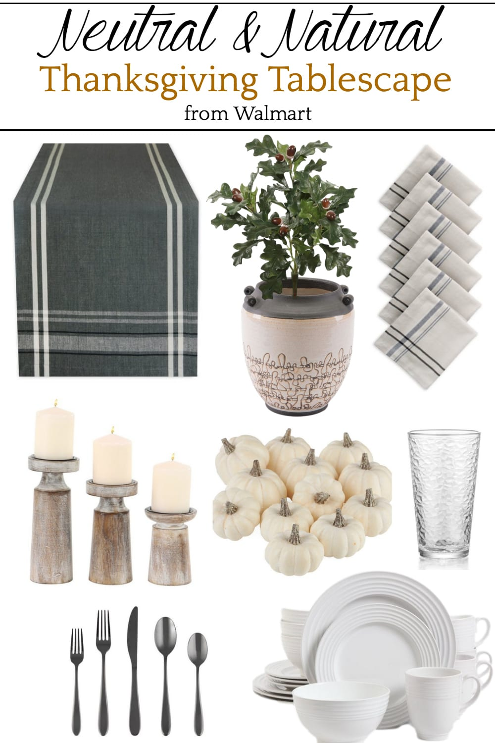 Neutral and Natural Thanksgiving Tablescape Mood Board
