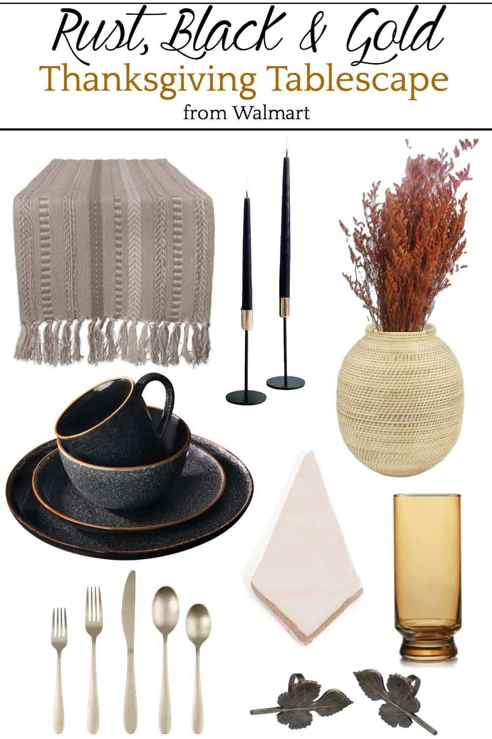 Rust, Black, and Gold Thanksgiving Tablescape Mood Board