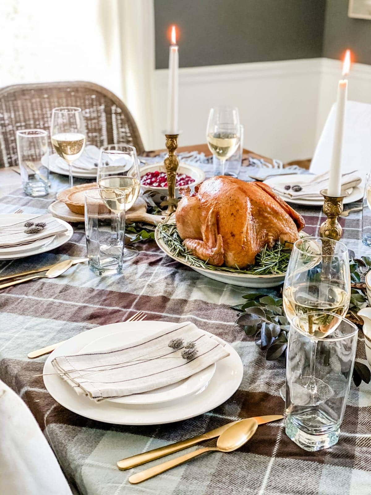 thanksgiving table using secondhand thrift store dishes