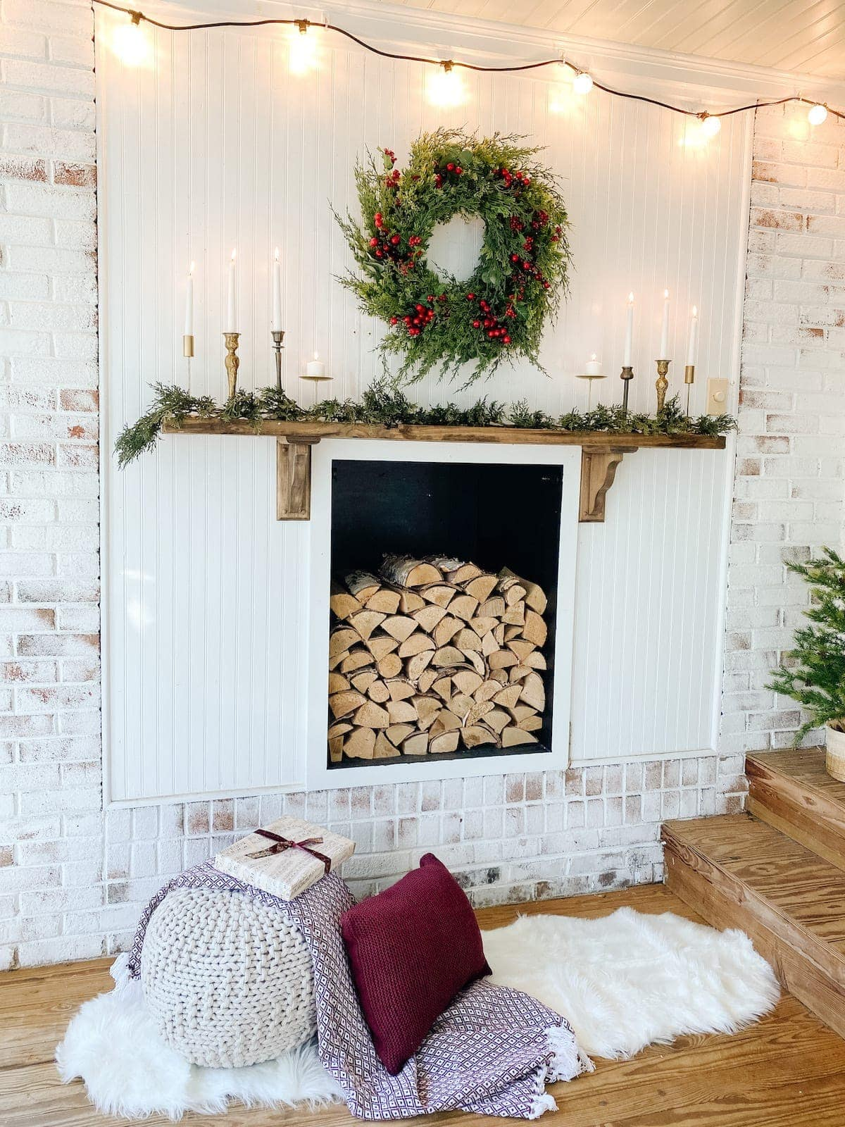 Simple Christmas Mantel Decor And Outdoor Faux Fireplace Bless Er House
