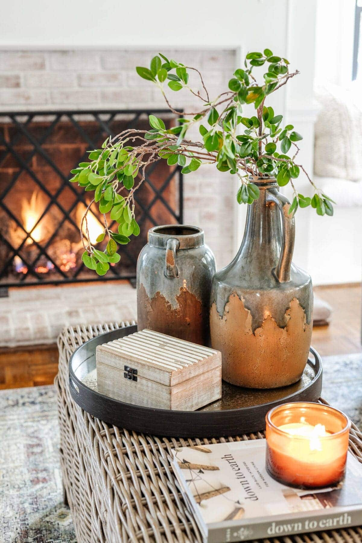 Winter Decor on a Coffee Table
