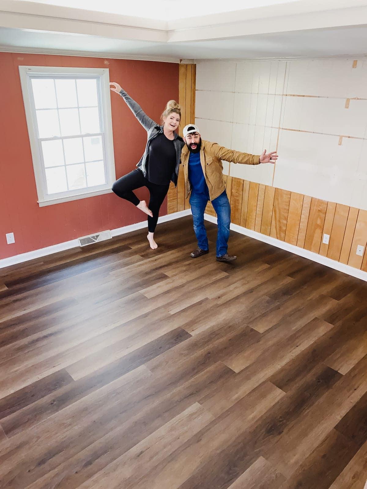 finished luxury vinyl plank flooring